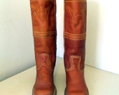 Vintage Retro Brown leather Cowgirl Boots size 8 M with steer head embroidery