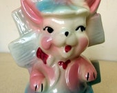 Vintage Funky Cute Blue Pink and White Rabbit Vase Planter