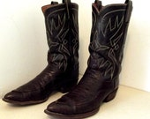 Vintage Tony Lama Cowboy Boots Rockabilly style two tone brown leather