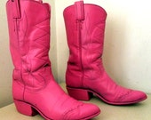 Funky Vintage Tony Lama Cowboy Boots Altered Hot Pink for that One of A Kind Cowgirl