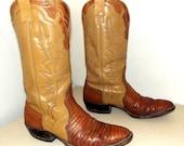 Vintage Lizard Cowboy Boots - Nocona brand - size 10.5 B