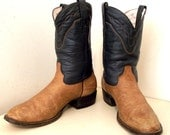 Broken in Cowboy boots in dark blue and light tan leather