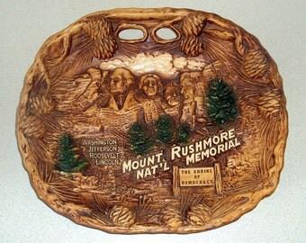 Vintage Mount Rushmore Platter Souvenir Wall Hanging
