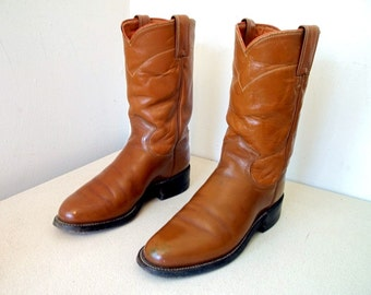 Vintage Caramel Colored Justin brand cowboy boots size 4.5 C