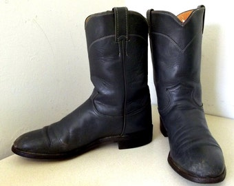 Funtastic Vintage Grey Leather justin Cowbot Boots size 9.5 B or Cowgirl size 11 narrow