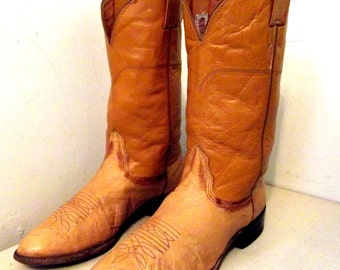 Vintage Mustard Yellow Cowboy Boots Nocona brand size 9.5 D or cowgirls size 11