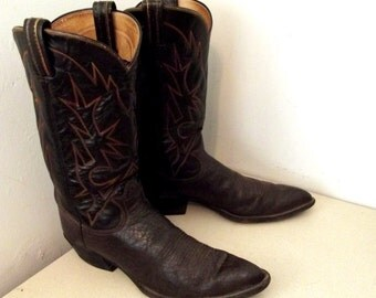 Vintage Tony Lama Cowboy Boots Two Tone Brown leather