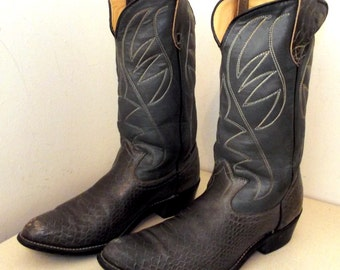 Rockin Vintage Grey leather cowboy boots size 10 D or Cowgirl size 11.5