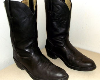 Rockin' Black on Black Leather Durango Cowboy Boots  size 10 D or cowgirl size 11.5