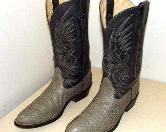 Vintage Double H brand cowboy boots size 9.5 D or cowgirl size 11 -- two tone grey