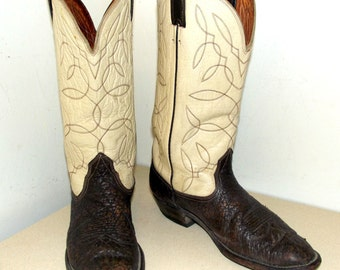 Vintage Western Cowboy Boots off white and brown leather size 9 or cowgirl size 10.5 to 11