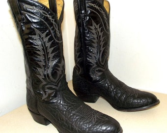 Rockabilly style Black Leather Western cowboy boots Tony Lama brand size 10 B