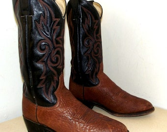 Black and brown Dan Post Cowboy Boots size 9.5 EW or cowgirl size 11