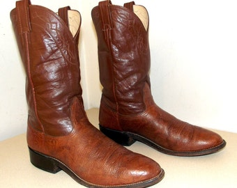 Brown Two tone leather Nocona Cowboy boots size 9.5 B
