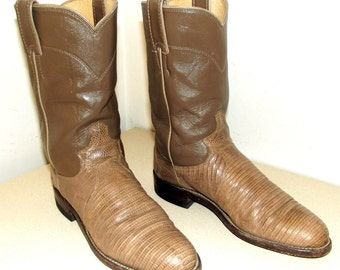 Roper style Tan Taupe leather cowboy boots with lizard foot size 6 B