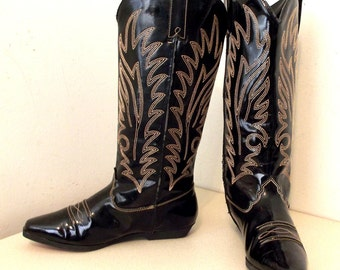 Vegan Friendly All Weather Western Cowgirl style black rain boots size 6.5