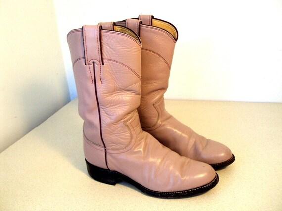Vintage Light Pink Roper style Justin Cowboy Boots size 4 B