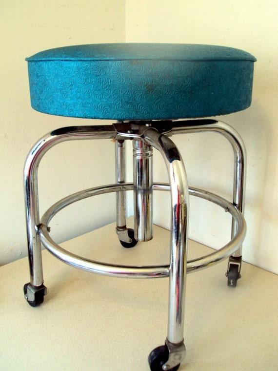 Vintage Chrome Stool On Wheels With Adjustable Turquoise Blue