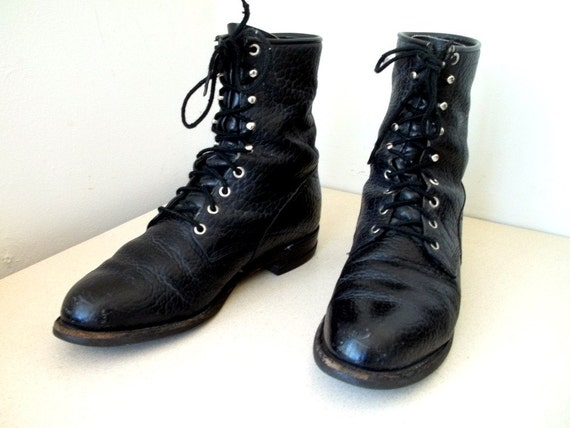 Vintage Black Leather Justin Lace up Roper Combat style Cowboy boots size 9.5 D or Cowgirl size 11.5 wide