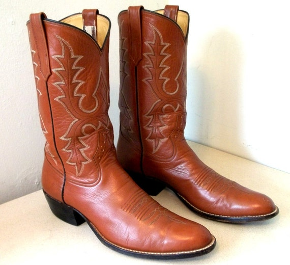 Vinage Rios of Mercedes Cowboy Boots Brown Leather size 11 A Narrow
