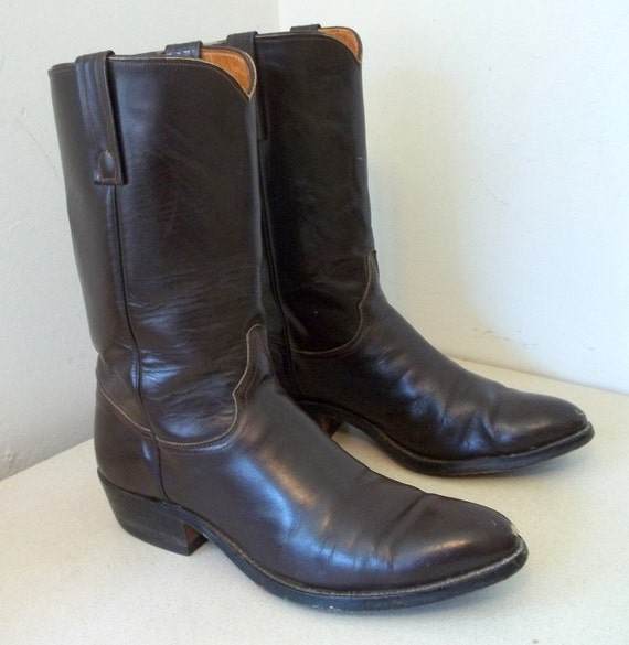 Vintage Brown Justin brand Cowboy boots size 10.5 B or Cowgirl size 11.5 to 12