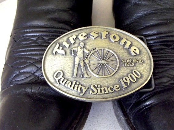 Vintage Firestone Tires Belt Buckle