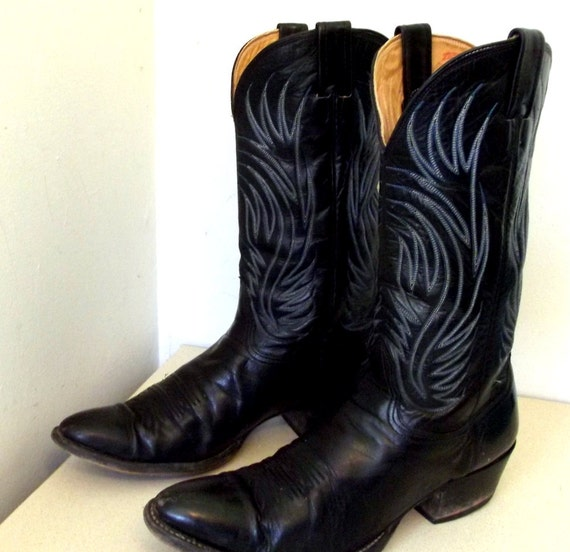 Blue And Black Cowgirl Boots - Yu Boots