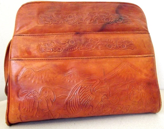 Amazing Vintage Leather Purse with Native American Eagle and Snake Design includes lots of storage