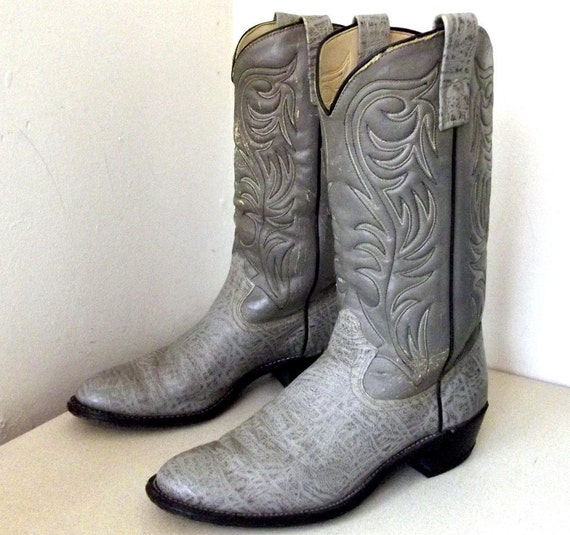 Vintage Grey Texas Brand Cowboy Boots Size By