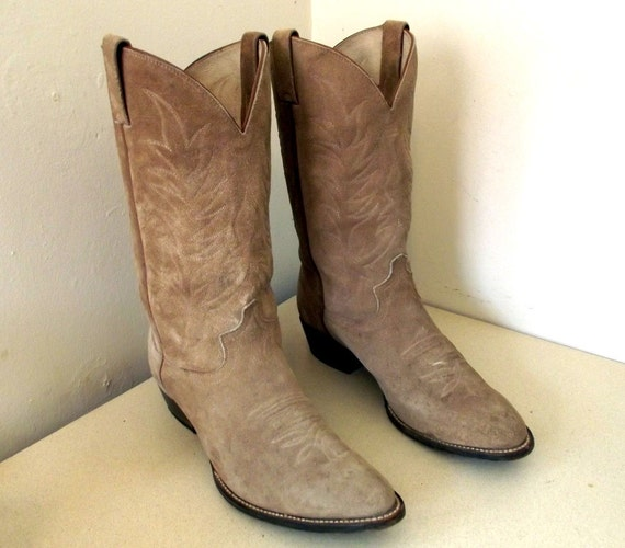 Vintage Cowboy Boots Justin Diamond J light by honeyblossomstudio
