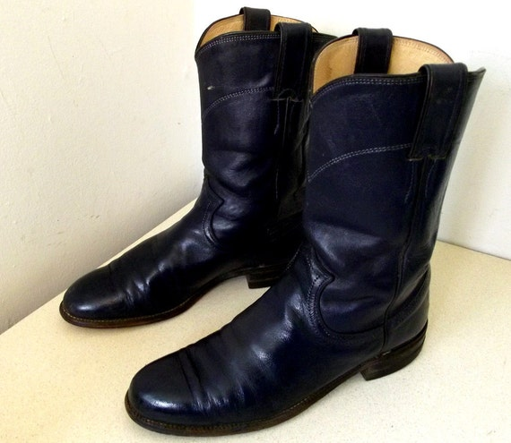 Vintage Cowboy Boots Navy Blue size 7 B - Justin brand - Roper style