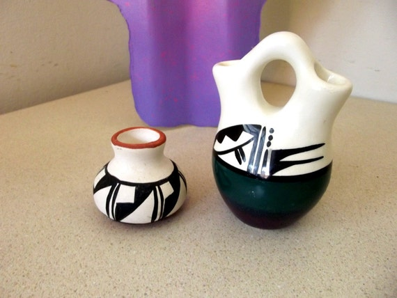 Small Double Vase Glazed New Mexico Pottery Mexican with purple green black accents