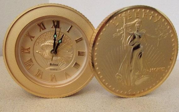 Retro Gold Bulova Alarm Clock Stack of 20 Dollar Walking Liberty Coins