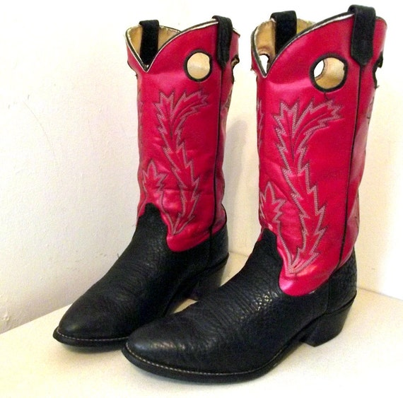 Vintage Wrangler Cowboy boots Red and black leather