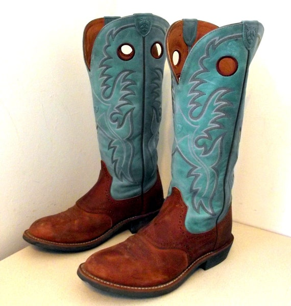 vintage ariat cowboy boots turquoise blue and brown leather