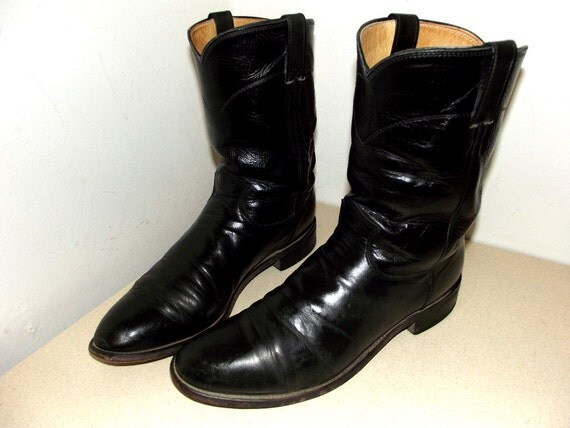 Vintage justin classic black leather roper style cowboy boots size 11 B