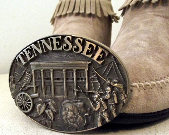 Vintage State of Tennessee solid brass belt buckle
