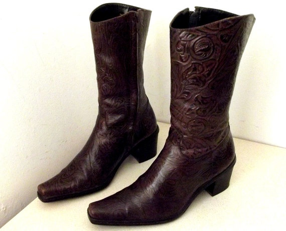 Vintage Gianni Bini Brown leather Ankle Boots size 6.5 M