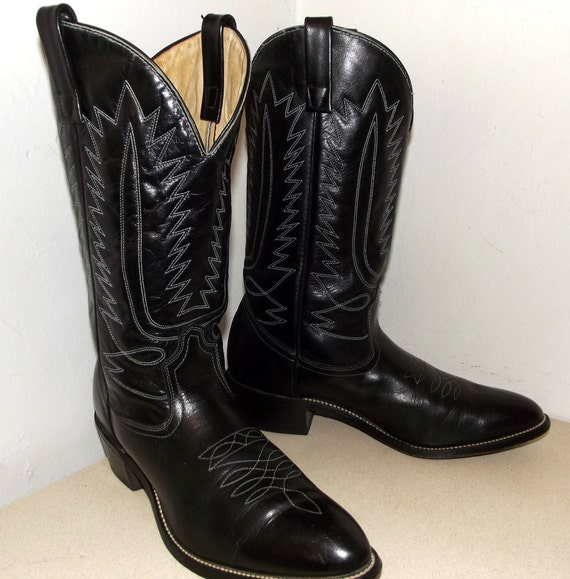 Vintage Mason Brand Black Cowboy Boots With White Stitched