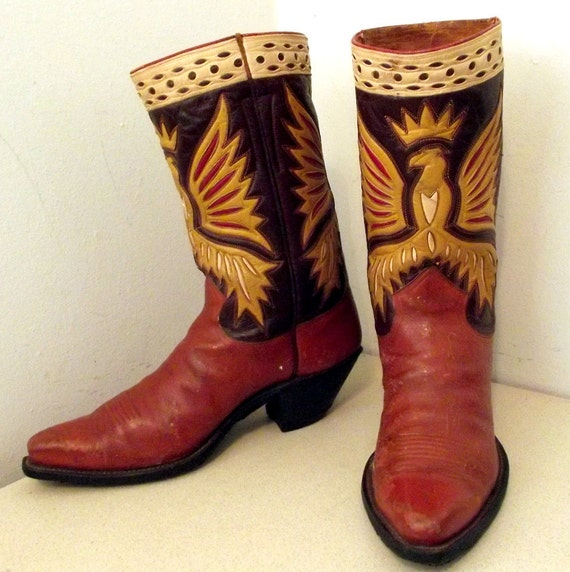 Gorgeous Vintage Nocona Cowboy Boots with Crown and Eagle Design