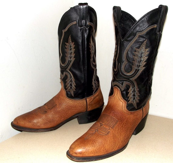 Vintage Abilene Cowboy Boots size 10 D or Cowgirl size 11.5 black and brown leather