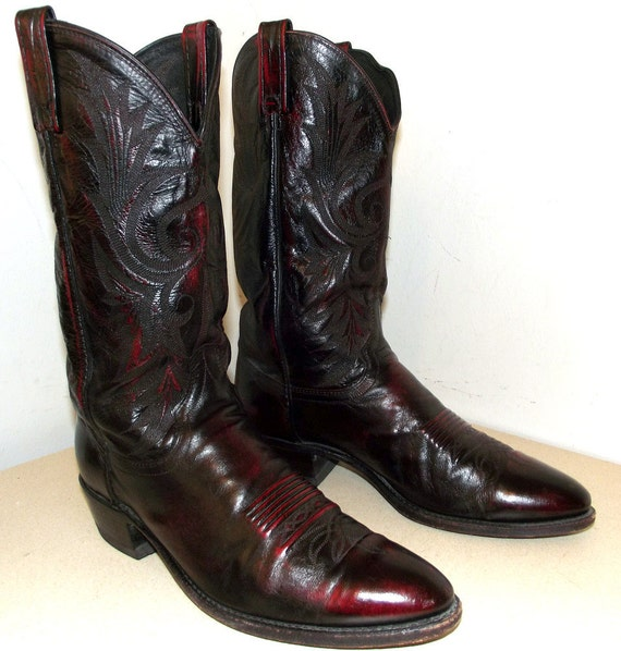 Sweet Vintage Burgandy Wine Leather Dan POst Cowboy Boots size 10 D or Cowgirl size 11.5