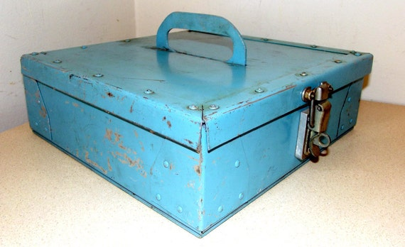 Funky Chippy Turquoise Blue Metal Toolbox with handle