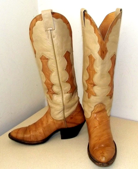 SOLD to MFW -- Nocona brand Cowboy boots with eel inlay and foot --  size 5 A