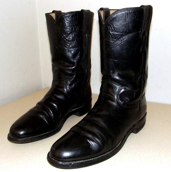 Classic Black Roper style Justin brand Cowboy boots size 8 B