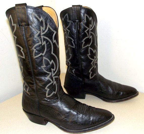 black leather nocona brand cowboy boots size 10 d or