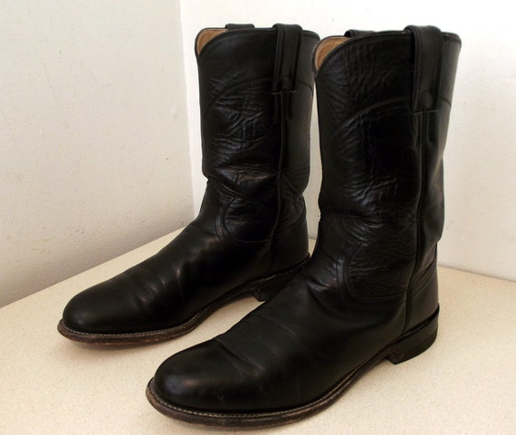Great Pull on black Justin brand Roper style cowboy boots size 8.5 B