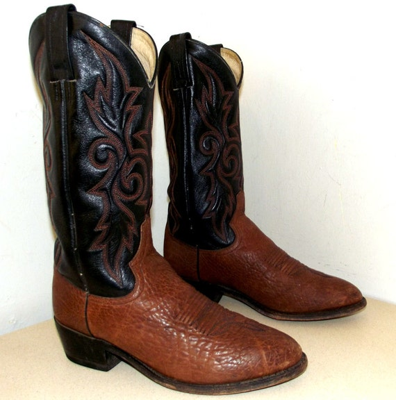 black and brown dan post cowboy boots size 9 5 ew or