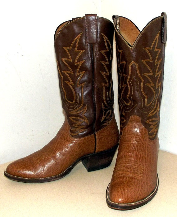 Two tone Brown Cowtown Cowboy Boots size 8.5 D or cowgirl size 10