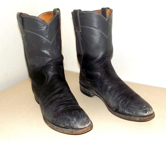 Broken In Roper style Justin brand Cowboy Boots - grey -- black - dark blue - mens size 9.5 B / womens size 10.5 to 11